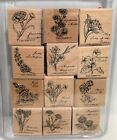 Stampin Up FLOWERS OF THE MONTH Floral Wood Rubber Stamps Set