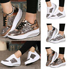 Women Shinny Sneaker Metallic Lace Up Shoes PU Leather Trainer Wedge Mid Heels