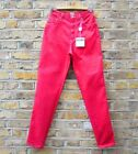 Moschino Womens Red Straight Leg 90s Vintage Jeans Pants W 26 L 31 NEW