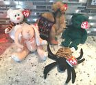 Ty Beanie baby Lot 2001 Holiday Teddy Bear, Spinner, Quivers, Lawrence, Camilia