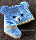 Handmade crochet hat, booties,  - baby shoes Beanie Cap  0-3 months light blue
