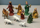 Vintage Lot of 10 Italian Plastic Nativity Figures Kings Sheep Camel Christmas