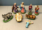 Vintage Lot of 8 Nativity Figures People Animals Papermache Composite Italy
