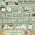 BABY BOY ALBUM Set of 13 Double Page Premade Baby Scrapbook Layouts