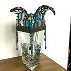 TRIANGLE CRYSTAL VASE Mosaic Waterfall Edge finished in Glass Beads Decor Metal