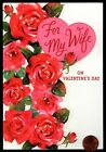 Valentine For Wife Roses Flowers Heart Glittered Valentines Day Greeting Card