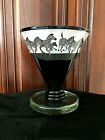 Correia Art Glass Etched Black and White Zebras Vase Limited Edition 76 500