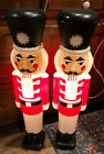 2 HTF VINTAGE NUTCRACKER SOLDIER 30 LIGHTED UNION PRODUCT CHRISTMAS BLOW MOLD