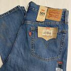 NWT Womens LEVIS 501 Blue Jeans 31 X 30  Button Fly Awesome  Destroyed