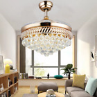42 Crystal Invisible Ceiling Fan Chandelier w 3 Color Change LED Light Remote