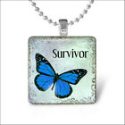 butterfly Square Glass Gems Cabochon Pendant Necklace Souvenirs Silver Jewelry