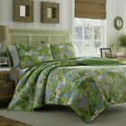 Quilt Set Queen Size Bedding Tropical Green Blue Floral Leaves Bed Room Cover
