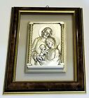 Engraved High Relief Silvery Image of the Holy Family with frame From Italy