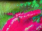 Iridescent Hot Pink Lime Green Reversible Sequins Fabric Stretch By Yard