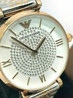 Emporio Armani Women's Watch AR1926 White Rose Gold Silver Pave Stainless Steel