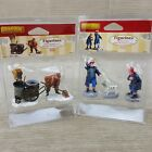 Lemax Town Village Street Sweeper Cart & Silly Boy Firemen w Dalmatian Figurines
