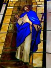 Vintage Church Stained Glass Window Circa 1903 Christ W Sceptre in Oak Frame
