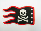 VTG Lego Pirate Cloth Flag 8x5 Wave Red Border and Skull and Crossbones x376px4