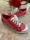 Coach A1647 Barrett Red Pink Signature Canvas Sneakers Sz 6.5B EUC! MSRP $145