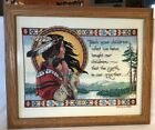 Needlepoint Native American Indian Mom Child Mother Papoose Finished Framed Poem
