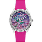 GUESS Womens Getaway Watch, Tropical Pink Brocade Dial, Crystals, Silicone Band