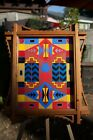 Southwest Native Original Geometric Painting in Ornate Handcrafted Wood Frame