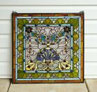 24 x 24 Colorful Handcrafted stained glass Jeweled window panel  104G