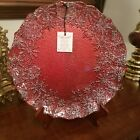 New Akcam Turkish Glass Red  Silver Snowflake Decorative Plate Tray Christmas