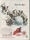 1952 TEXACO GAS DALMATIAN SNOWBALL PUPPY FIRE HELMET AD 7585