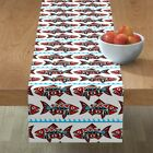 Table Runner Chinook Salmon Spirit Fish Native Tribal Abstract Cotton Sateen
