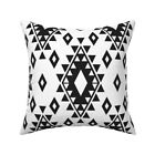 Boho Aztec Black White Native Throw Pillow Cover w Optional Insert by Roostery