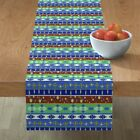 Table Runner Aztec Tribal Stripes Native Mexican Masculine Feather Cotton Sateen