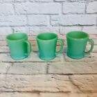 Lot of 3 Vintage Fire King Oven Ware Jadite D-Handle Mugs Flat Bottom Jadeite