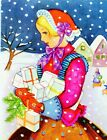 Vintage Brownie Christmas Greeting Card Victorian Lady Presents Snow Homes 1887