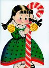 Vintage Norcross Susie Q Christmas Greeting Card Oversize With Candy Cane