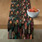 Table Runner Earth Tones Feathers Native American Tribal Bird Cotton Sateen