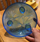 Verlys Glass Bowl Verly Blue Pinecone Signed