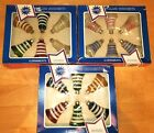 VTG 3 BOX COBY GLASS CHRISTMAS BELL ORNAMENTS BLUE YELLOW RED STRIPE
