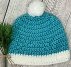 Beanie Handmade in Laguna Beach, CA! Teen/Adult Turquoise/White