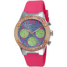 GUESS Womens Rockstar Watch Multifunction Blue Glitter Dial, Pink Band Rose Gold