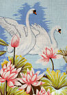 Needlepoint tapestry painted canvas Swans 18x24 Gobelin 14839