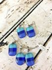 Woman Necklace  Matching Earrings Set Fish Hook Wire Band Blue Glass Pendants
