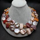 22 Natural Freshwater Cultured Purple Keshi Pearl Mookaite Nugget Necklace