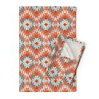 Native Tiles Bold Diamonds Mosaic Linen Cotton Tea Towels by Roostery Set of 2