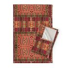 Kilim Squares Native Aztec Ikat Linen Cotton Tea Towels by Roostery Set of 2