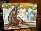Nice Oil Painting 18x24 Canvas Native Woman Bag on Head Boy in Tree Sgn Julia