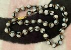 Vintage Venetian Murano Italy Black White Floral Glass Bead Necklace
