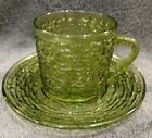 1 MINT CUP AND SAUCER Anchor Hocking SORENO AVOCADO DARK GREEN Glass Clear 60's