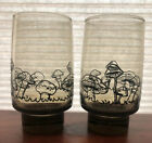 Two Libbey Tawny Accent Brown Raised Mushroom Drinking Glass Mid Century