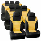 3 Row 8 Seaters Seat Covers For SUV Van 3D Mesh Yellow Black Free Gift